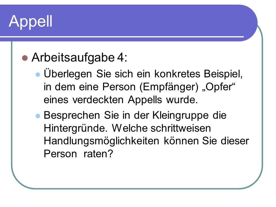"""Appell Arbeitsaufgabe 4: Überlegen Sie sich ein konkretes Beispiel, in dem eine Person (Empfänger) """"Opfer eines verdeckten Appells wurde."""