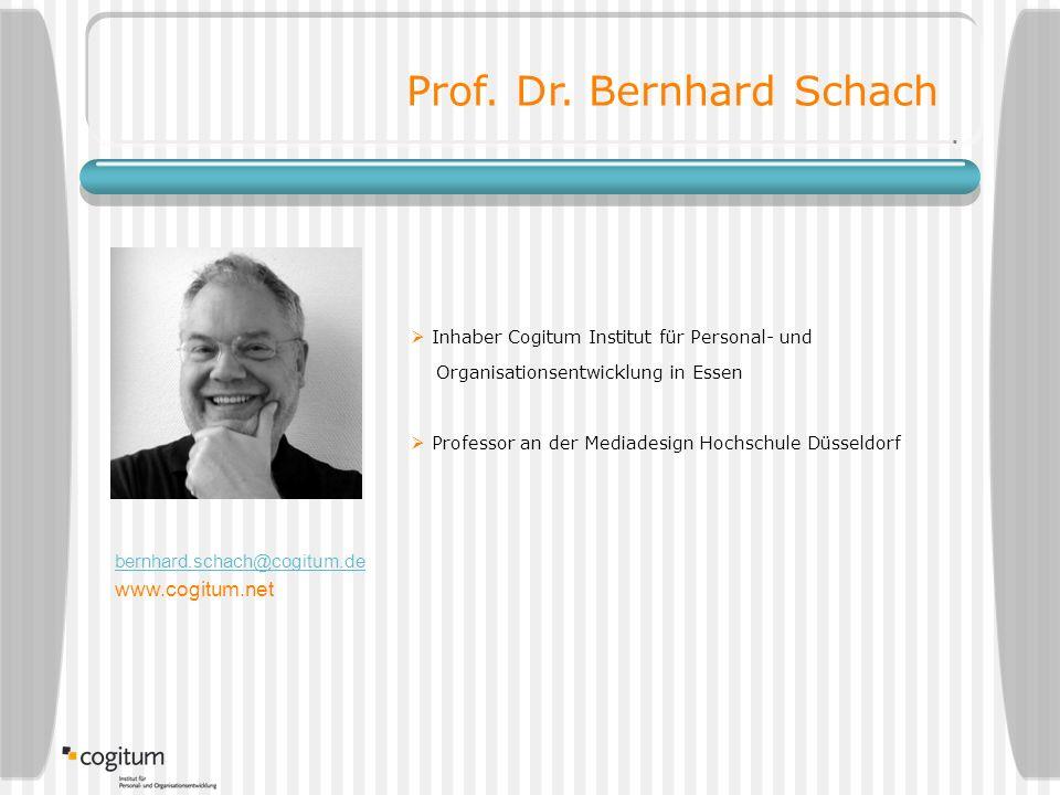  Inhaber Cogitum Institut für Personal- und Organisationsentwicklung in Essen  Professor an der Mediadesign Hochschule Düsseldorf Prof.