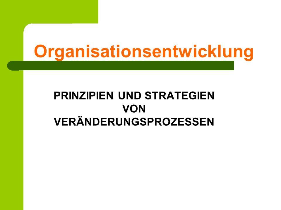 Literatur Schiersmann, Christiane; Thiel, Heinz- Ulrich (2010): Organisationsentwicklung: Prinzipien und Stategien von Veränderungsprozessen, Wiesbaden: VS- Verlag für Sozialwissenschaften