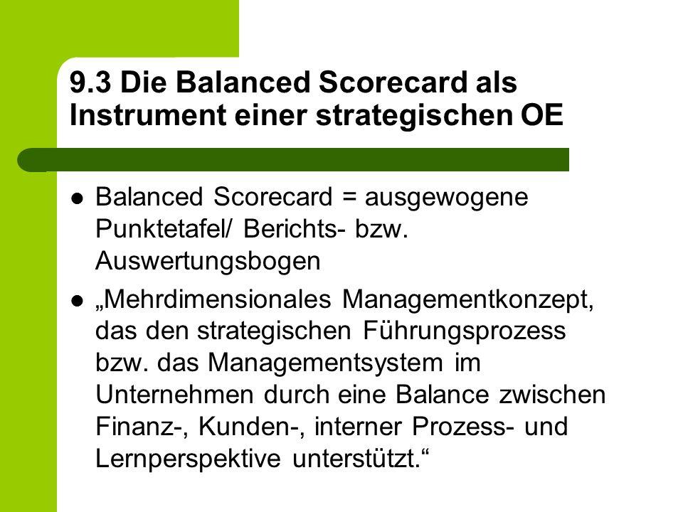 """9.3 Die Balanced Scorecard als Instrument einer strategischen OE Balanced Scorecard = ausgewogene Punktetafel/ Berichts- bzw. Auswertungsbogen """"Mehrdi"""