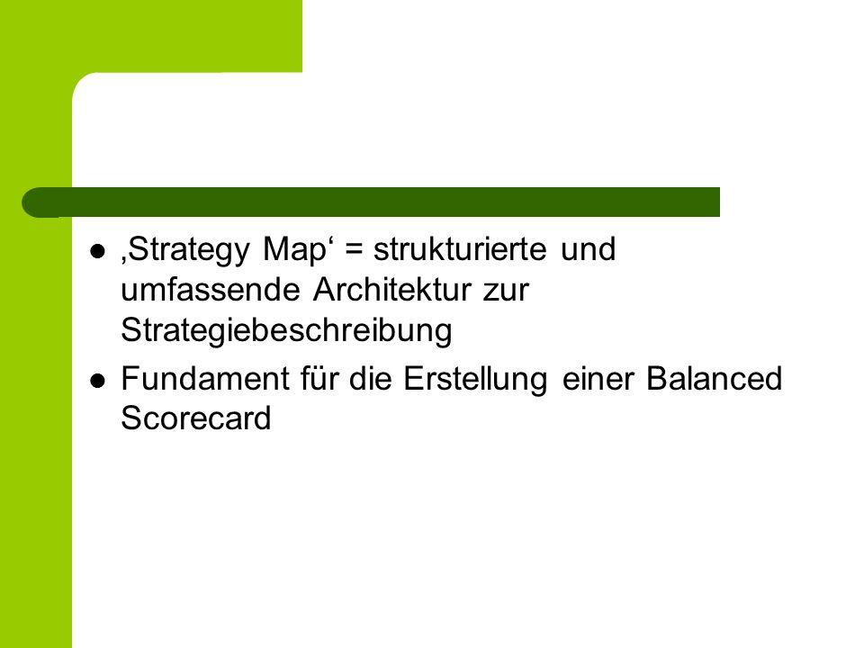 'Strategy Map' = strukturierte und umfassende Architektur zur Strategiebeschreibung Fundament für die Erstellung einer Balanced Scorecard
