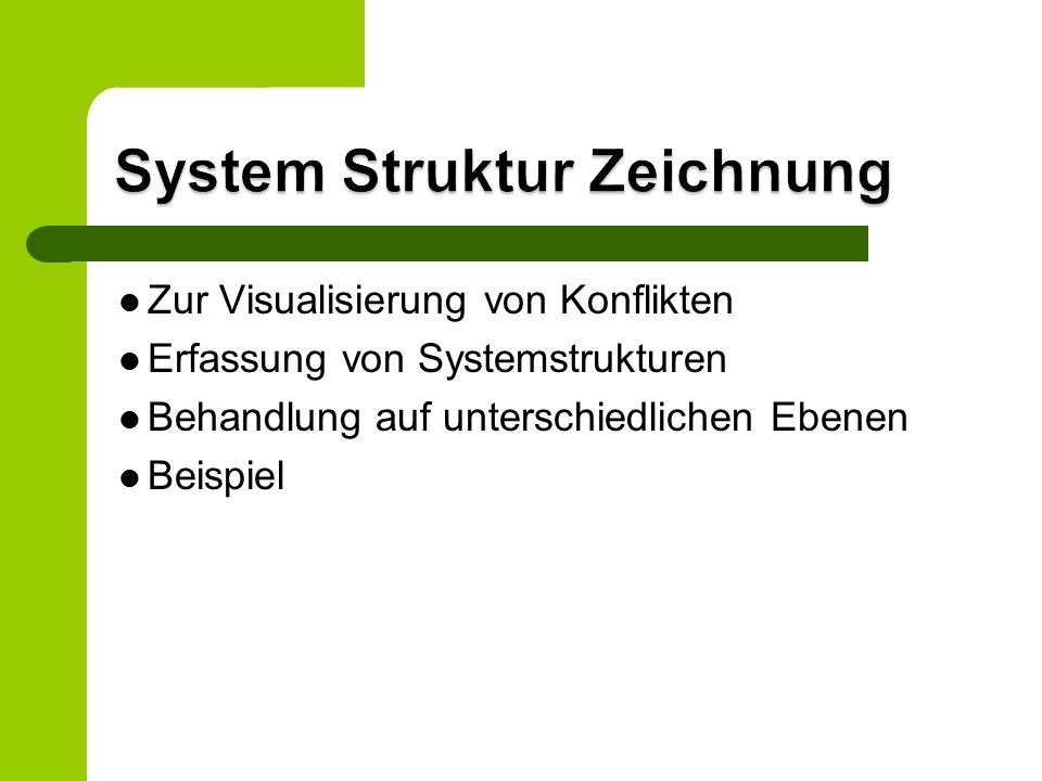 Zur Visualisierung von Konflikten Erfassung von Systemstrukturen Behandlung auf unterschiedlichen Ebenen Beispiel
