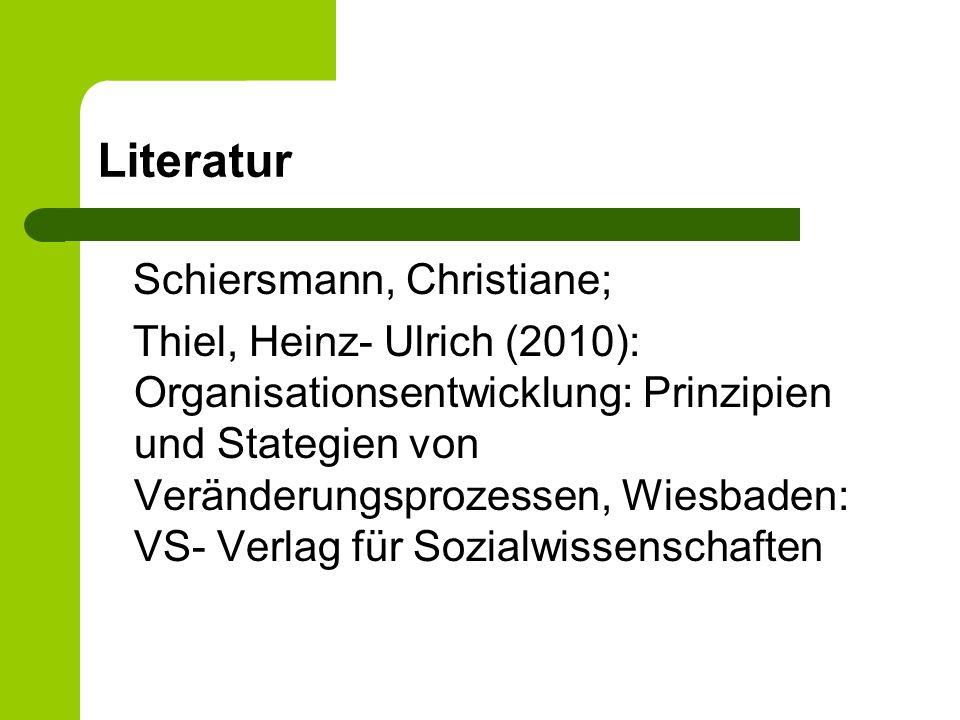 Literatur Schiersmann, Christiane; Thiel, Heinz- Ulrich (2010): Organisationsentwicklung: Prinzipien und Stategien von Veränderungsprozessen, Wiesbade