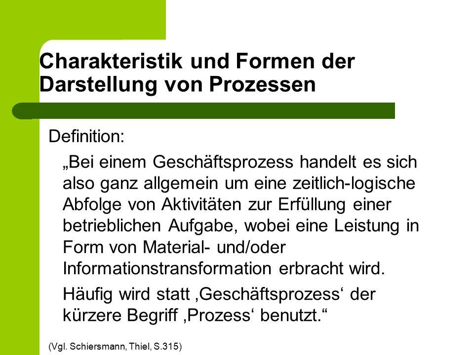 """Charakteristik und Formen der Darstellung von Prozessen Definition: """"Bei einem Geschäftsprozess handelt es sich also ganz allgemein um eine zeitlich-l"""