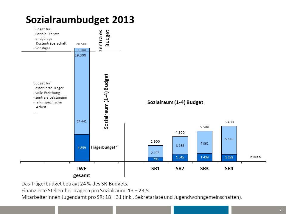 25 Sozialraumbudget 2013 Das Trägerbudget beträgt 24 % des SR-Budgets. Finanzierte Stellen bei Trägern pro Sozialraum: 13 – 23,5. MitarbeiterInnen Jug