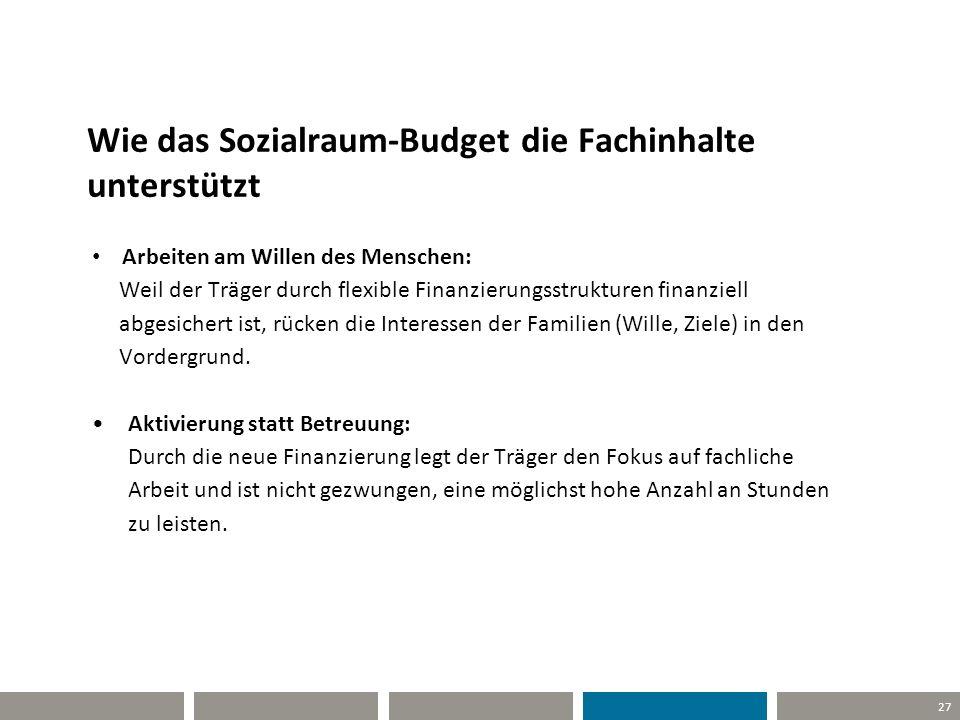 27 Wie das Sozialraum-Budget die Fachinhalte unterstützt Arbeiten am Willen des Menschen: Weil der Träger durch flexible Finanzierungsstrukturen finan
