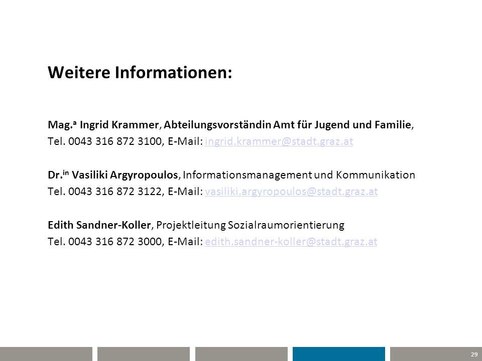 29 Weitere Informationen: Mag. a Ingrid Krammer, Abteilungsvorständin Amt für Jugend und Familie, Tel. 0043 316 872 3100, E-Mail: ingrid.krammer@stadt