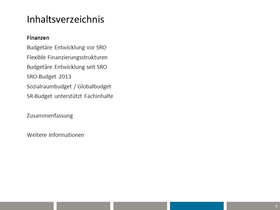 3 Inhaltsverzeichnis Finanzen Budgetäre Entwicklung vor SRO Flexible Finanzierungsstrukturen Budgetäre Entwicklung seit SRO SRO-Budget 2013 Sozialraum