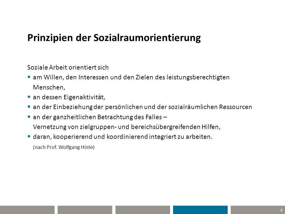 6 Prinzipien der Sozialraumorientierung Soziale Arbeit orientiert sich  am Willen, den Interessen und den Zielen des leistungsberechtigten Menschen,