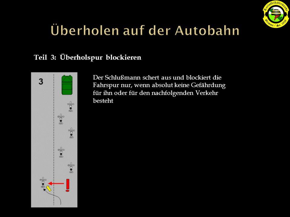 Teil 3: Überholspur blockieren Der Schlußmann schert aus und blockiert die Fahrspur nur, wenn absolut keine Gefährdung für ihn oder für den nachfolgenden Verkehr besteht