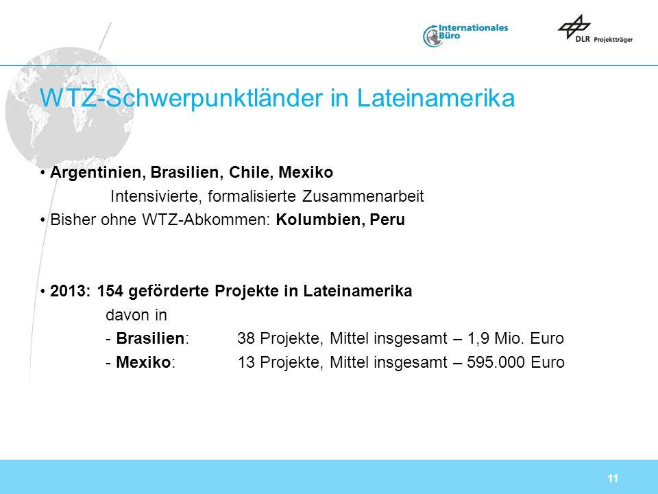 11 WTZ-Schwerpunktländer in Lateinamerika Argentinien, Brasilien, Chile, Mexiko Intensivierte, formalisierte Zusammenarbeit Bisher ohne WTZ-Abkommen: Kolumbien, Peru 2013: 154 geförderte Projekte in Lateinamerika davon in - Brasilien: 38 Projekte, Mittel insgesamt – 1,9 Mio.