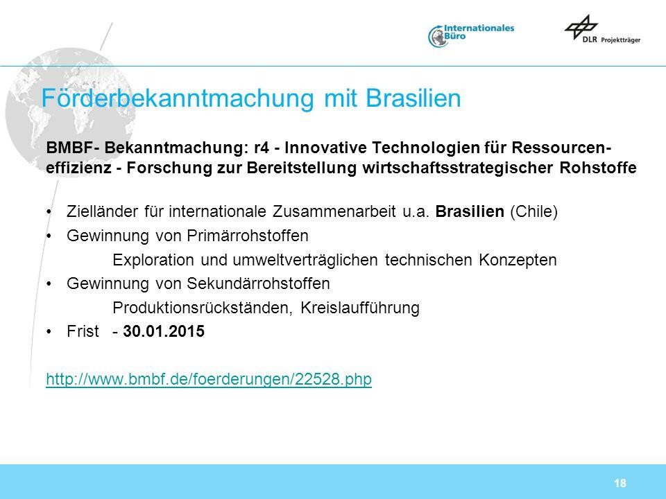 18 Förderbekanntmachung mit Brasilien BMBF- Bekanntmachung: r4 - Innovative Technologien für Ressourcen effizienz - Forschung zur Bereitstellung wirtschaftsstrategischer Rohstoffe Zielländer für internationale Zusammenarbeit u.a.