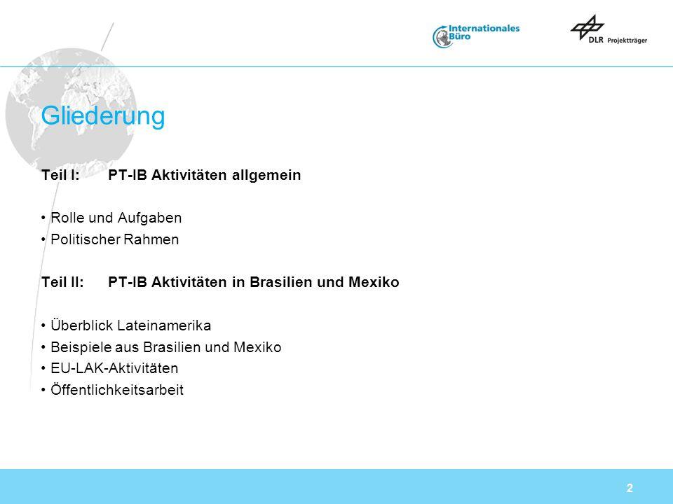 2 Gliederung Teil I:PT-IB Aktivitäten allgemein Rolle und Aufgaben Politischer Rahmen Teil II:PT-IB Aktivitäten in Brasilien und Mexiko Überblick Lateinamerika Beispiele aus Brasilien und Mexiko EU-LAK-Aktivitäten Öffentlichkeitsarbeit