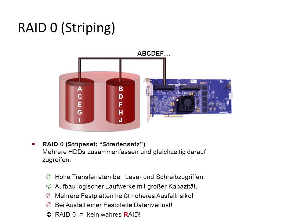 RAID 0 (Striping)  RAID 0 (Stripeset; Streifensatz ) Mehrere HDDs zusammenfassen und gleichzeitig darauf zugreifen.