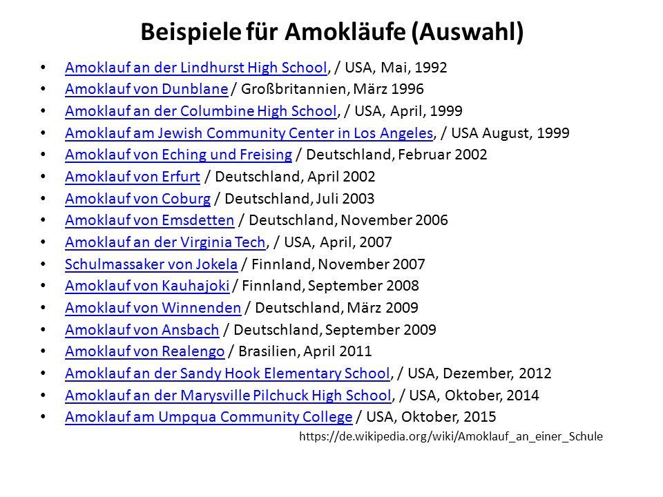 Beispiele für Amokläufe (Auswahl) Amoklauf an der Lindhurst High School, / USA, Mai, 1992 Amoklauf an der Lindhurst High School Amoklauf von Dunblane / Großbritannien, März 1996 Amoklauf von Dunblane Amoklauf an der Columbine High School, / USA, April, 1999 Amoklauf an der Columbine High School Amoklauf am Jewish Community Center in Los Angeles, / USA August, 1999 Amoklauf am Jewish Community Center in Los Angeles Amoklauf von Eching und Freising / Deutschland, Februar 2002 Amoklauf von Eching und Freising Amoklauf von Erfurt / Deutschland, April 2002 Amoklauf von Erfurt Amoklauf von Coburg / Deutschland, Juli 2003 Amoklauf von Coburg Amoklauf von Emsdetten / Deutschland, November 2006 Amoklauf von Emsdetten Amoklauf an der Virginia Tech, / USA, April, 2007 Amoklauf an der Virginia Tech Schulmassaker von Jokela / Finnland, November 2007 Schulmassaker von Jokela Amoklauf von Kauhajoki / Finnland, September 2008 Amoklauf von Kauhajoki Amoklauf von Winnenden / Deutschland, März 2009 Amoklauf von Winnenden Amoklauf von Ansbach / Deutschland, September 2009 Amoklauf von Ansbach Amoklauf von Realengo / Brasilien, April 2011 Amoklauf von Realengo Amoklauf an der Sandy Hook Elementary School, / USA, Dezember, 2012 Amoklauf an der Sandy Hook Elementary School Amoklauf an der Marysville Pilchuck High School, / USA, Oktober, 2014 Amoklauf an der Marysville Pilchuck High School Amoklauf am Umpqua Community College / USA, Oktober, 2015 Amoklauf am Umpqua Community College https://de.wikipedia.org/wiki/Amoklauf_an_einer_Schule