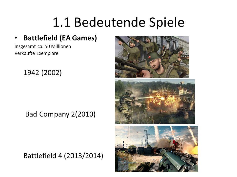 1.1 Bedeutende Spiele Battlefield (EA Games) Insgesamt ca.