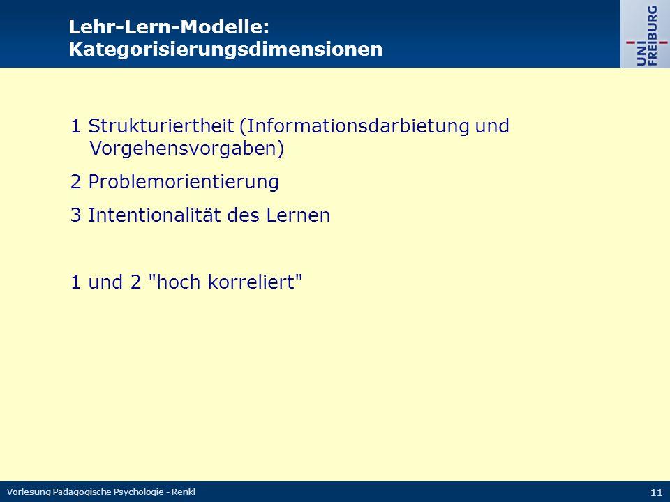 Vorlesung Pädagogische Psychologie - Renkl 11 Lehr-Lern-Modelle: Kategorisierungsdimensionen 1 Strukturiertheit (Informationsdarbietung und Vorgehensvorgaben) 2 Problemorientierung 3 Intentionalität des Lernen 1 und 2 hoch korreliert