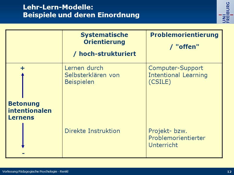 Vorlesung Pädagogische Psychologie - Renkl 12 Lehr-Lern-Modelle: Beispiele und deren Einordnung Systematische Orientierung / hoch-strukturiert Problemorientierung / offen + Betonung intentionalen Lernens - Lernen durch Selbsterklären von Beispielen Direkte Instruktion Computer-Support Intentional Learning (CSILE) Projekt- bzw.