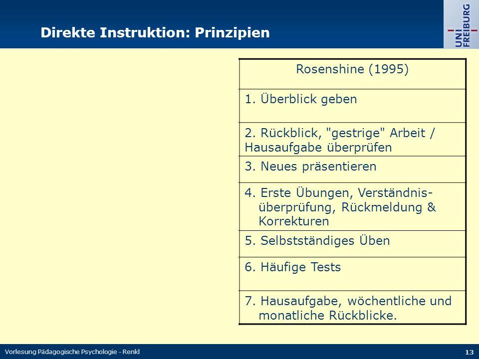 Vorlesung Pädagogische Psychologie - Renkl 13 Direkte Instruktion: Prinzipien Salvin (1994)Rosenshine (1995) 1. Lernziele benennen und orientieren 1.