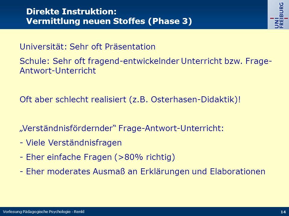 Vorlesung Pädagogische Psychologie - Renkl 14 Direkte Instruktion: Vermittlung neuen Stoffes (Phase 3) Universität: Sehr oft Präsentation Schule: Sehr oft fragend-entwickelnder Unterricht bzw.