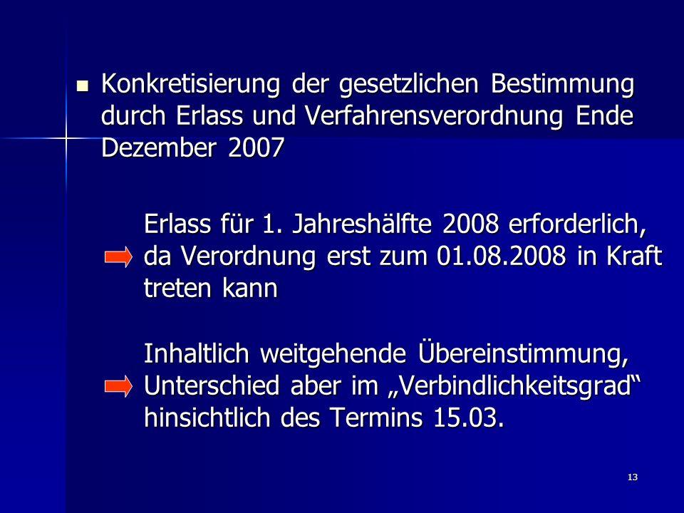 13 Konkretisierung der gesetzlichen Bestimmung durch Erlass und Verfahrensverordnung Ende Dezember 2007 Konkretisierung der gesetzlichen Bestimmung durch Erlass und Verfahrensverordnung Ende Dezember 2007 Erlass für 1.