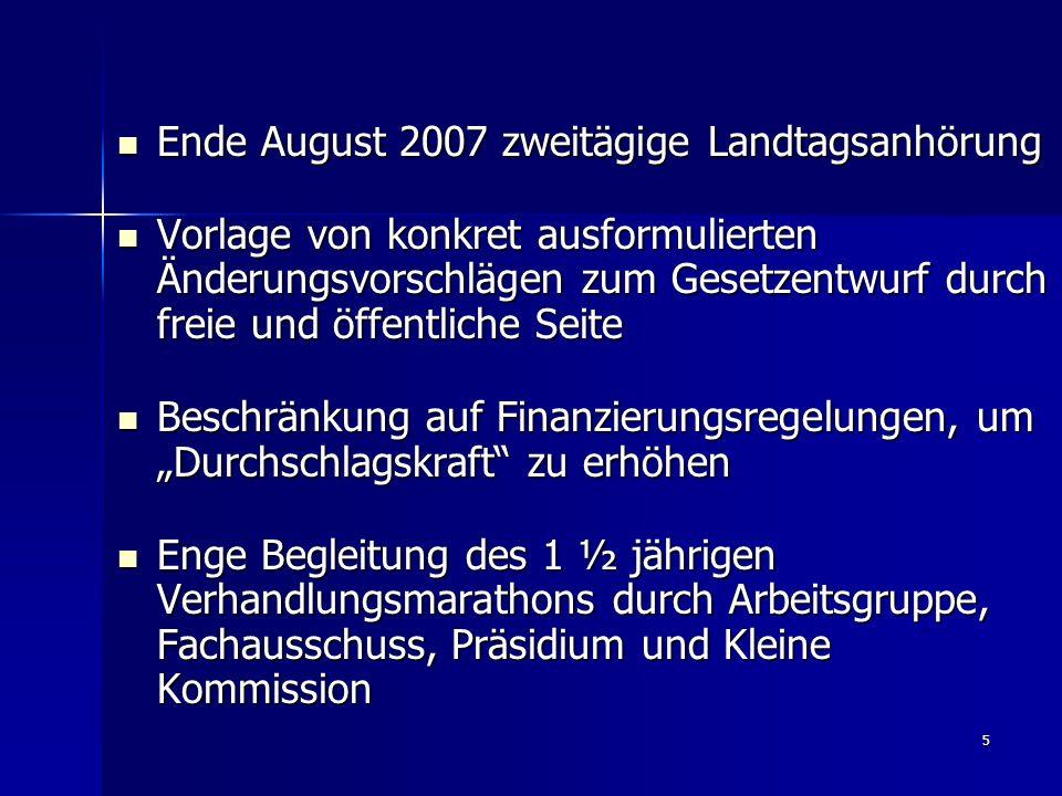 """5 Ende August 2007 zweitägige Landtagsanhörung Ende August 2007 zweitägige Landtagsanhörung Vorlage von konkret ausformulierten Änderungsvorschlägen zum Gesetzentwurf durch freie und öffentliche Seite Vorlage von konkret ausformulierten Änderungsvorschlägen zum Gesetzentwurf durch freie und öffentliche Seite Beschränkung auf Finanzierungsregelungen, um """"Durchschlagskraft zu erhöhen Beschränkung auf Finanzierungsregelungen, um """"Durchschlagskraft zu erhöhen Enge Begleitung des 1 ½ jährigen Verhandlungsmarathons durch Arbeitsgruppe, Fachausschuss, Präsidium und Kleine Kommission Enge Begleitung des 1 ½ jährigen Verhandlungsmarathons durch Arbeitsgruppe, Fachausschuss, Präsidium und Kleine Kommission"""