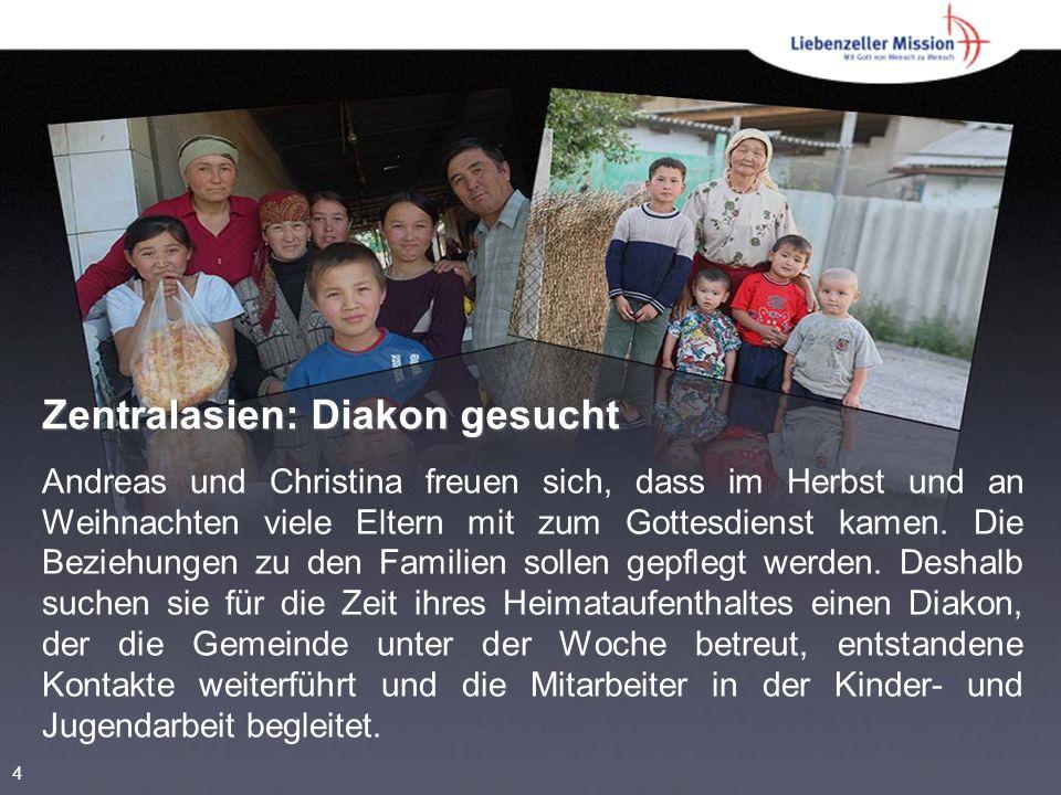 Zentralasien: Diakon gesucht Andreas und Christina freuen sich, dass im Herbst und an Weihnachten viele Eltern mit zum Gottesdienst kamen.