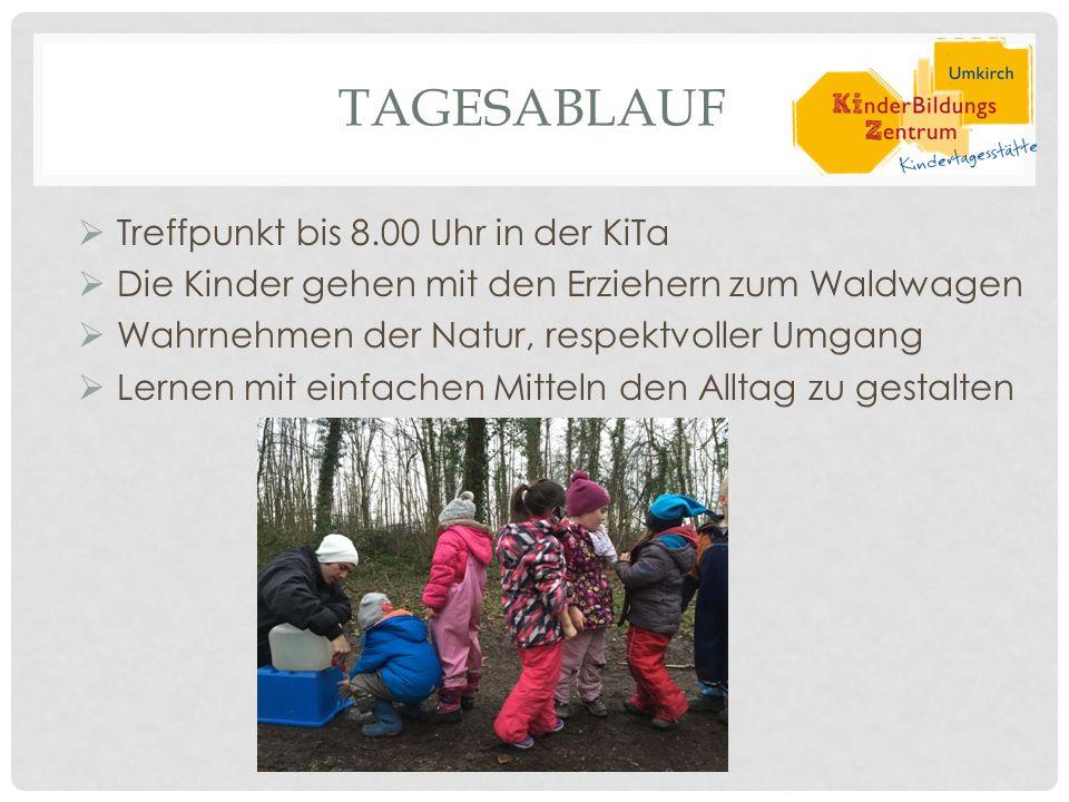 TAGESABLAUF  Treffpunkt bis 8.00 Uhr in der KiTa  Die Kinder gehen mit den Erziehern zum Waldwagen  Wahrnehmen der Natur, respektvoller Umgang  Lernen mit einfachen Mitteln den Alltag zu gestalten