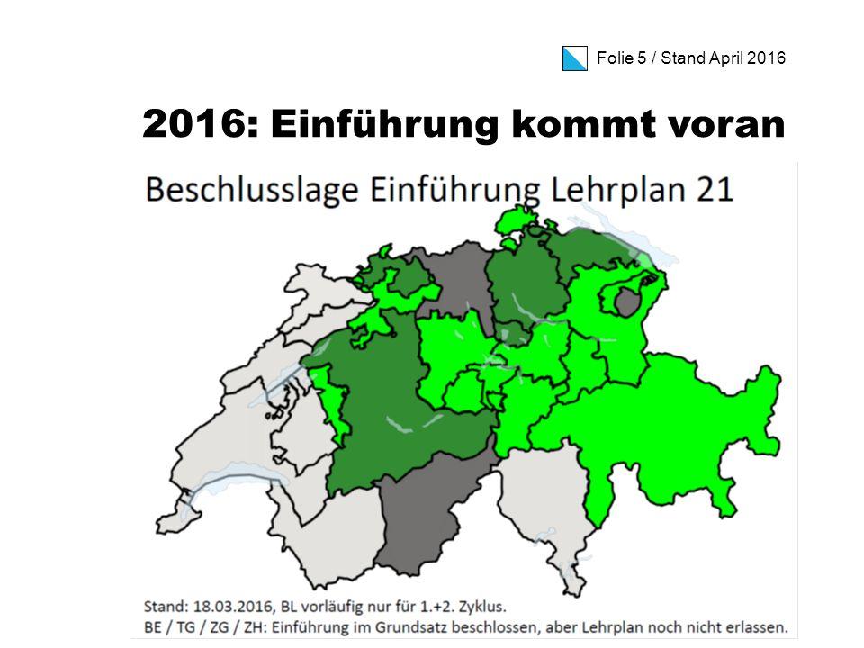 Folie 6 / Stand April 2016 Der Weg zum Zürcher Lehrplan 21 (I) Hier entsteht der Zürcher Lehrplan 21