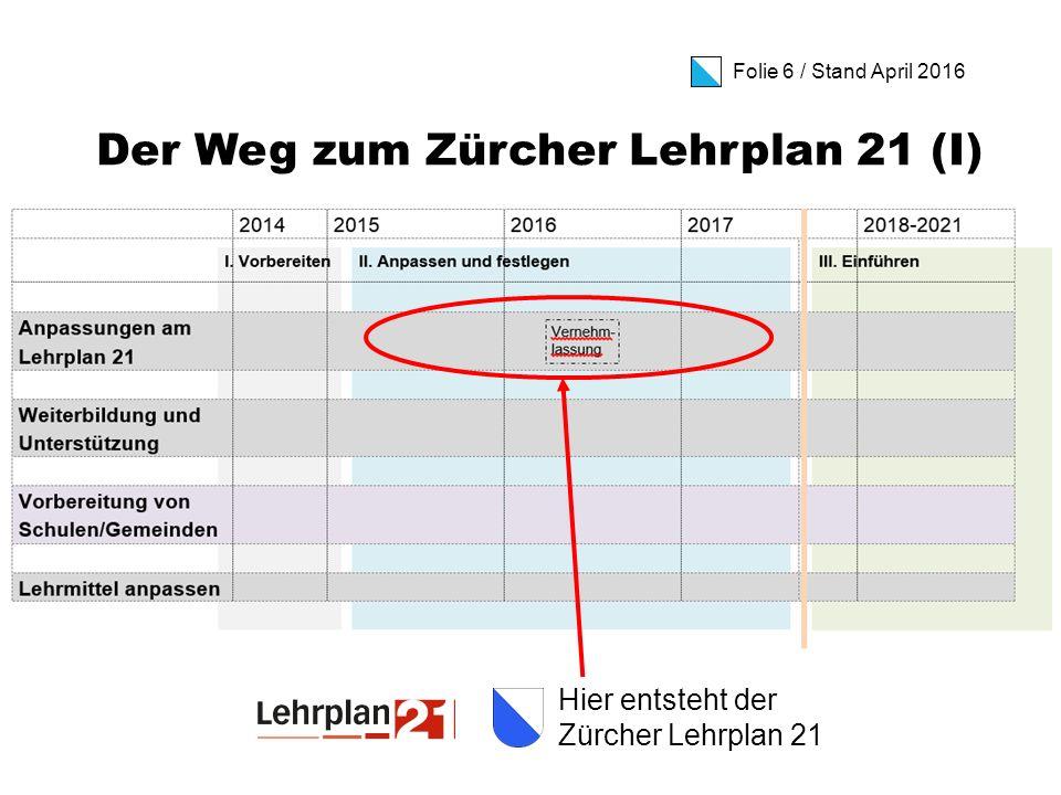 Folie 7 / Stand April 2016 Der Weg zum Zürcher Lehrplan 21 (II) Schuljahr 2018/19: Inkraftsetzung Kindergarten- und Primarstufe bis 5.