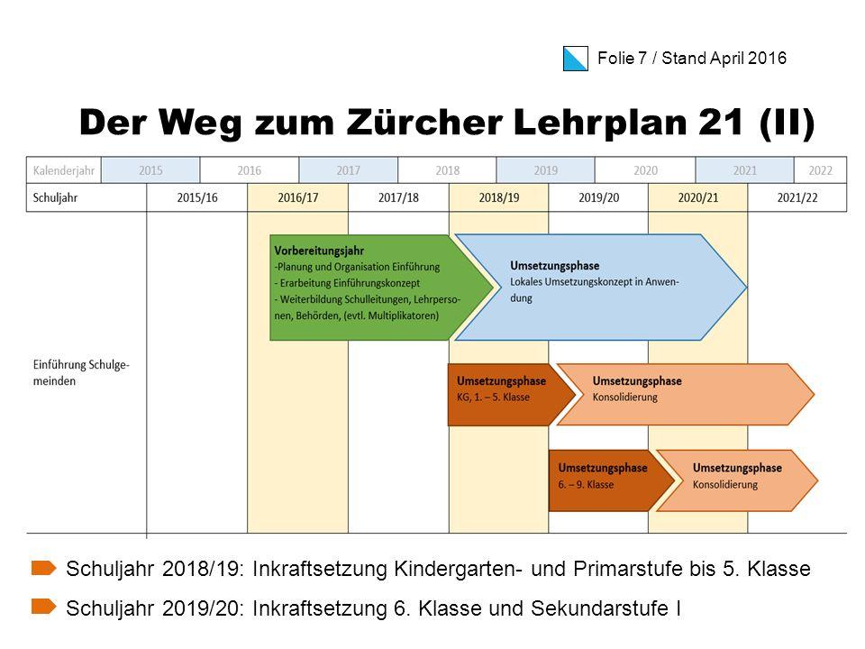 Folie 18 / Stand April 2016 Ein Wort zur Volksinitiative  Zuständig für den Lehrplan 21 im Kanton Zürich ist der Bildungsrat.