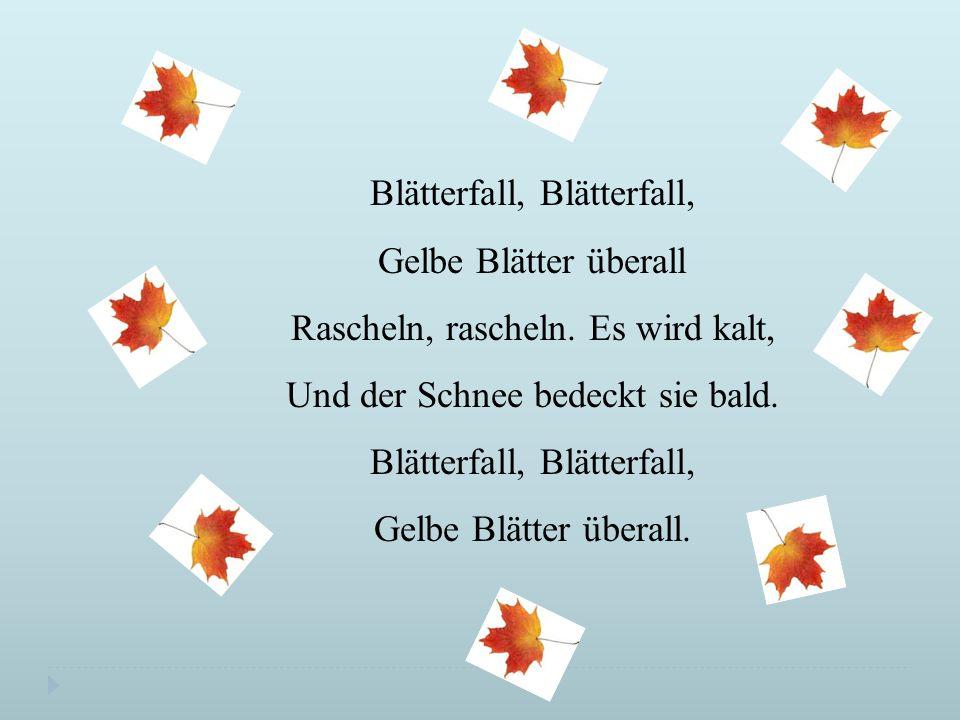 Blätterfall, Blätterfall, Gelbe Blätter überall Rascheln, rascheln.