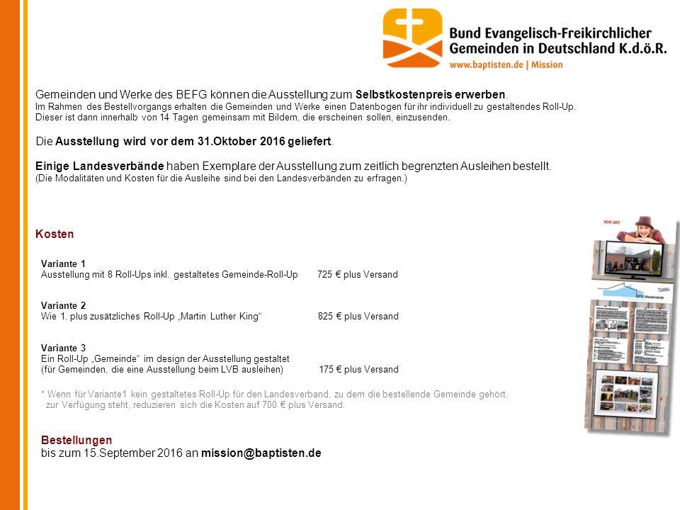 Gemeinden und Werke des BEFG können die Ausstellung zum Selbstkostenpreis erwerben.