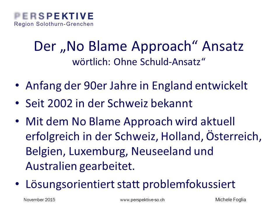"""Der """"No Blame Approach Ansatz wörtlich: Ohne Schuld-Ansatz Anfang der 90er Jahre in England entwickelt Seit 2002 in der Schweiz bekannt Mit dem No Blame Approach wird aktuell erfolgreich in der Schweiz, Holland, Österreich, Belgien, Luxemburg, Neuseeland und Australien gearbeitet."""