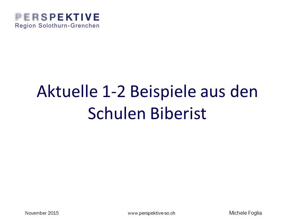 Aktuelle 1-2 Beispiele aus den Schulen Biberist www.perspektive-so.ch Michele Foglia November 2015