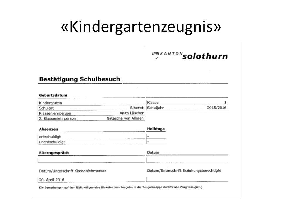 «Kindergartenzeugnis»