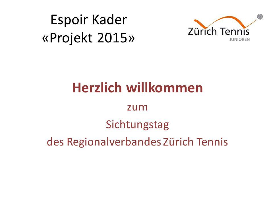 Espoir Kader «Projekt 2015» Herzlich willkommen zum Sichtungstag des Regionalverbandes Zürich Tennis