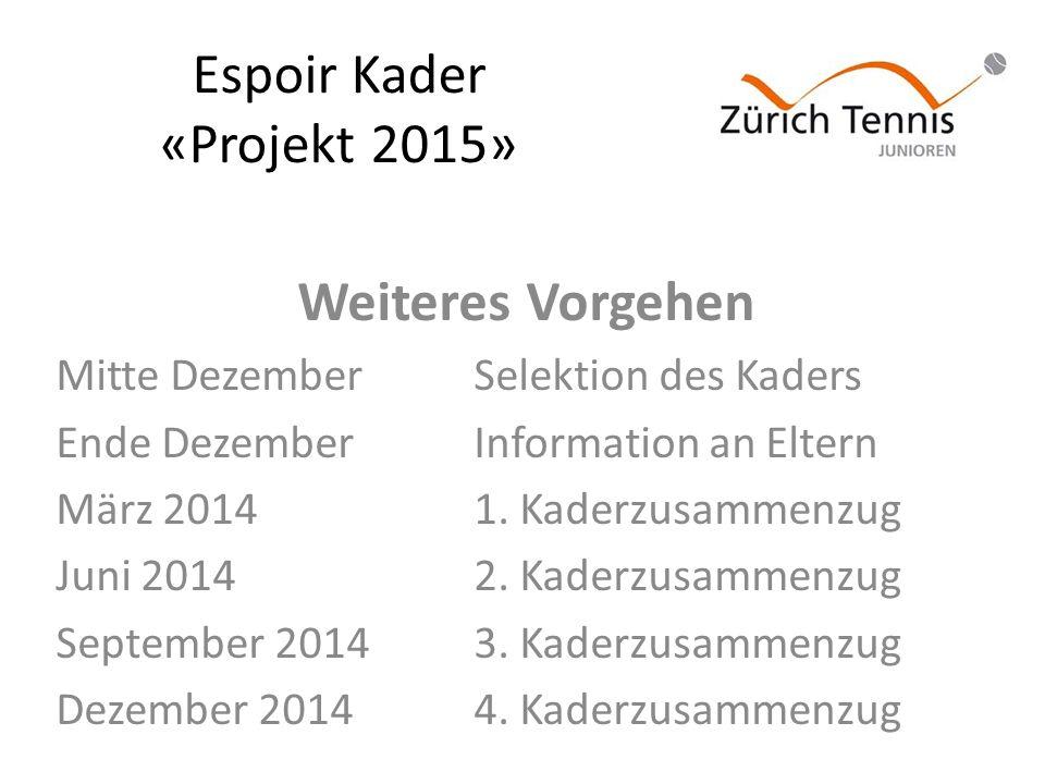 Espoir Kader «Projekt 2015» Weiteres Vorgehen Mitte DezemberSelektion des Kaders Ende DezemberInformation an Eltern März 20141.