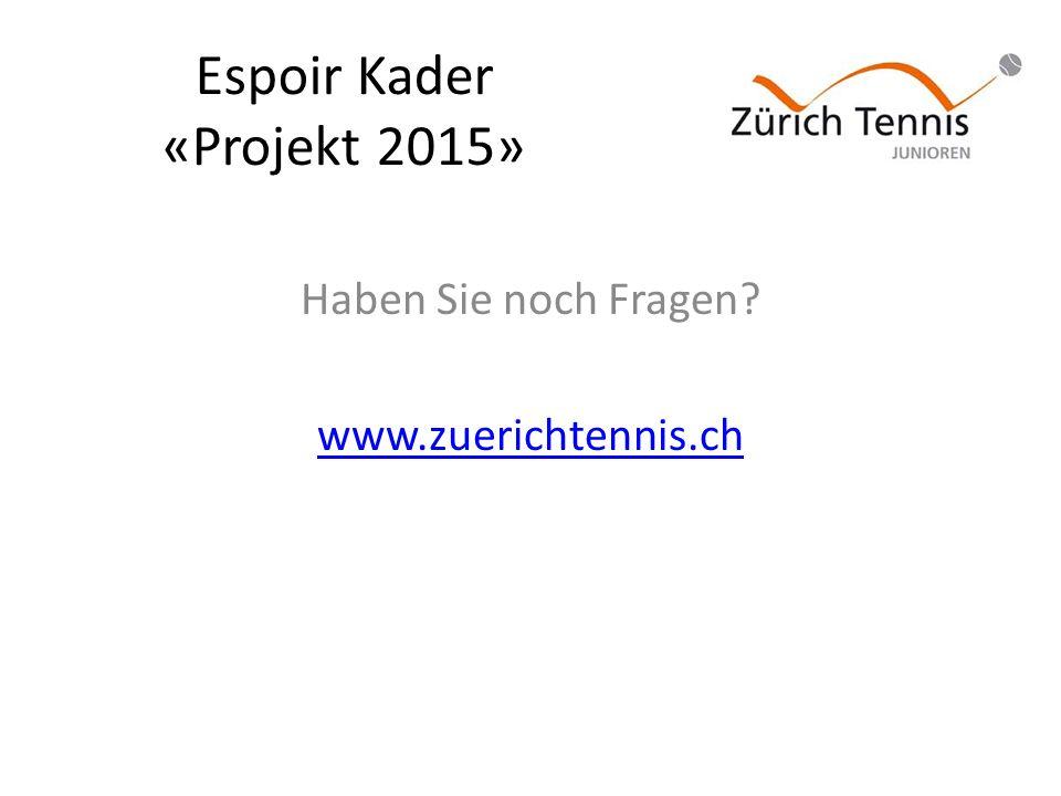 Espoir Kader «Projekt 2015» Haben Sie noch Fragen www.zuerichtennis.ch