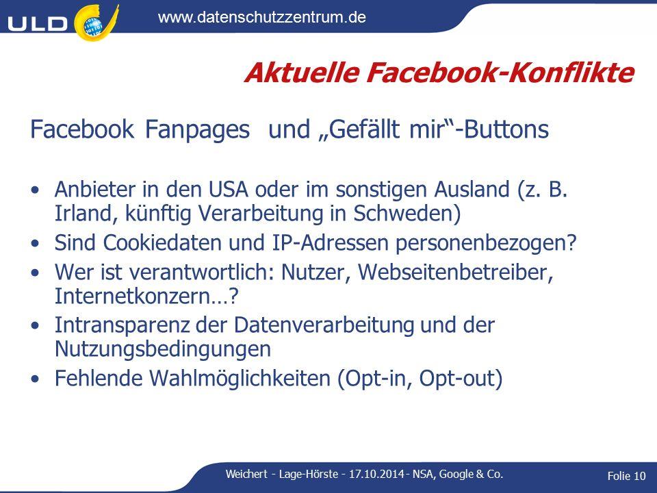 """www.datenschutzzentrum.de Aktuelle Facebook-Konflikte Facebook Fanpages und """"Gefällt mir -Buttons Anbieter in den USA oder im sonstigen Ausland (z."""