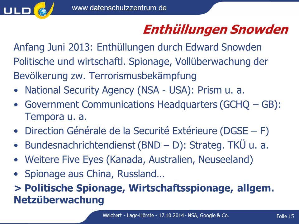 www.datenschutzzentrum.de Enthüllungen Snowden Anfang Juni 2013: Enthüllungen durch Edward Snowden Politische und wirtschaftl.