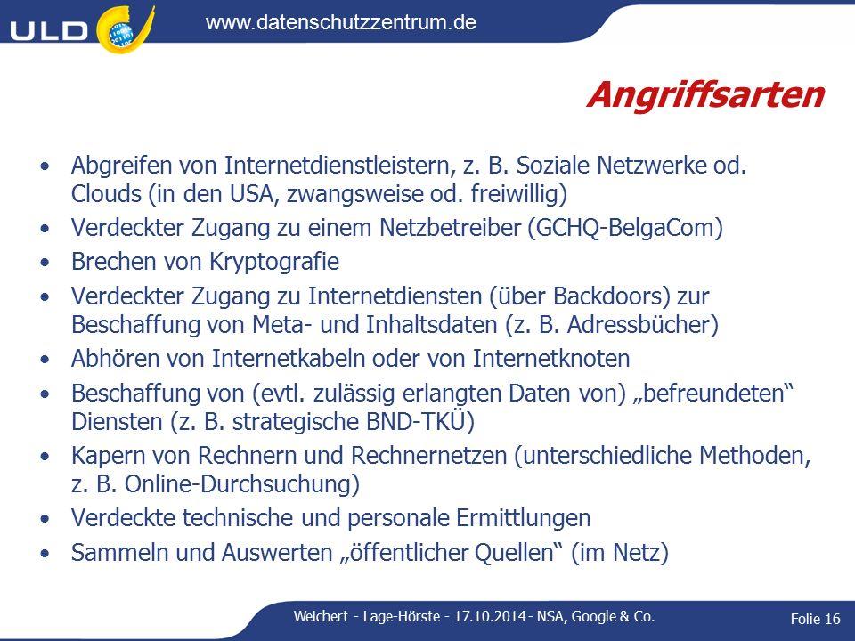 www.datenschutzzentrum.de Angriffsarten Abgreifen von Internetdienstleistern, z.
