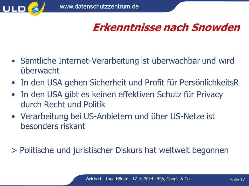 www.datenschutzzentrum.de Erkenntnisse nach Snowden Sämtliche Internet-Verarbeitung ist überwachbar und wird überwacht In den USA gehen Sicherheit und Profit für PersönlichkeitsR In den USA gibt es keinen effektiven Schutz für Privacy durch Recht und Politik Verarbeitung bei US-Anbietern und über US-Netze ist besonders riskant > Politische und juristischer Diskurs hat weltweit begonnen Weichert - Lage-Hörste - 17.10.2014 - NSA, Google & Co.