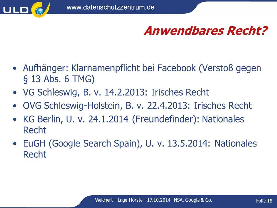 www.datenschutzzentrum.de Anwendbares Recht.