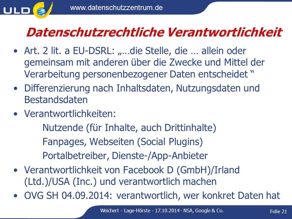 www.datenschutzzentrum.de Datenschutzrechtliche Verantwortlichkeit Art.