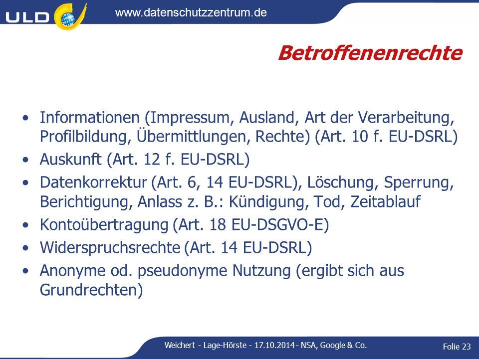 www.datenschutzzentrum.de Betroffenenrechte Informationen (Impressum, Ausland, Art der Verarbeitung, Profilbildung, Übermittlungen, Rechte) (Art.