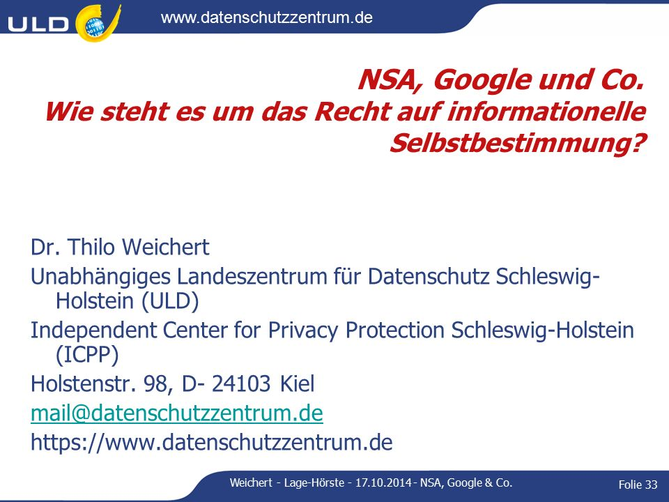 www.datenschutzzentrum.de Dr.