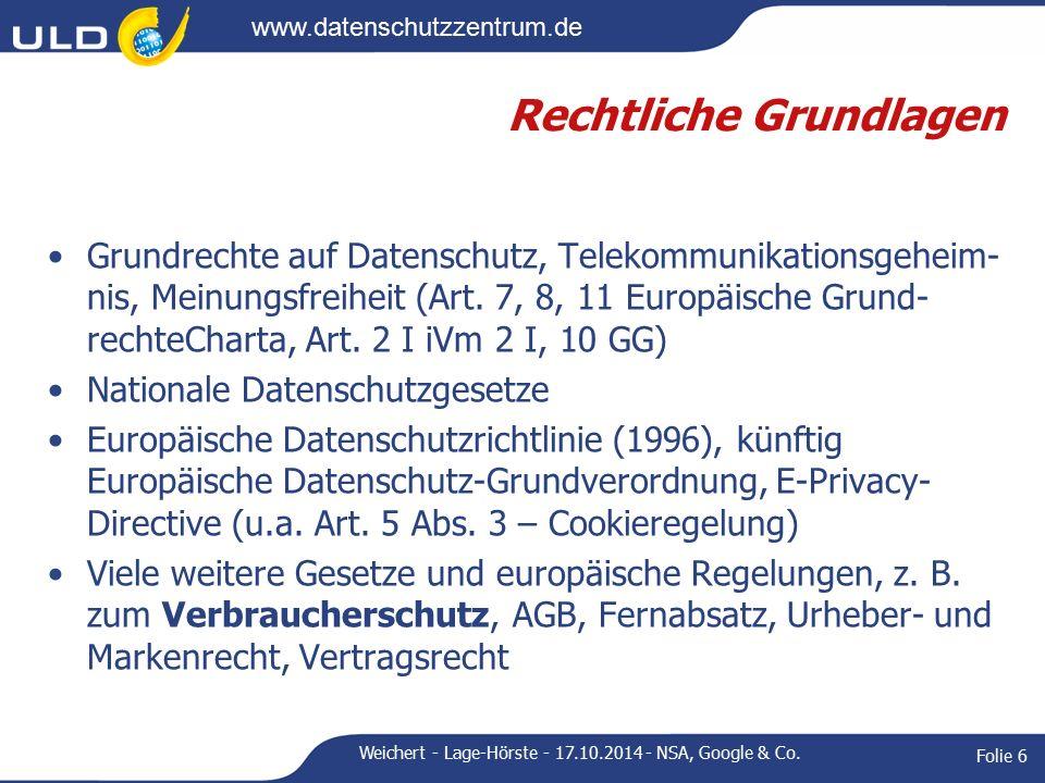 www.datenschutzzentrum.de Regelungsansätze Gesetzliche nationale Regelungen Europäische Regelungen Nationale Verhaltensregeln (Codes of Conduct) mit oder ohne Genehmigung durch Aufsichtsbehörden (Art.