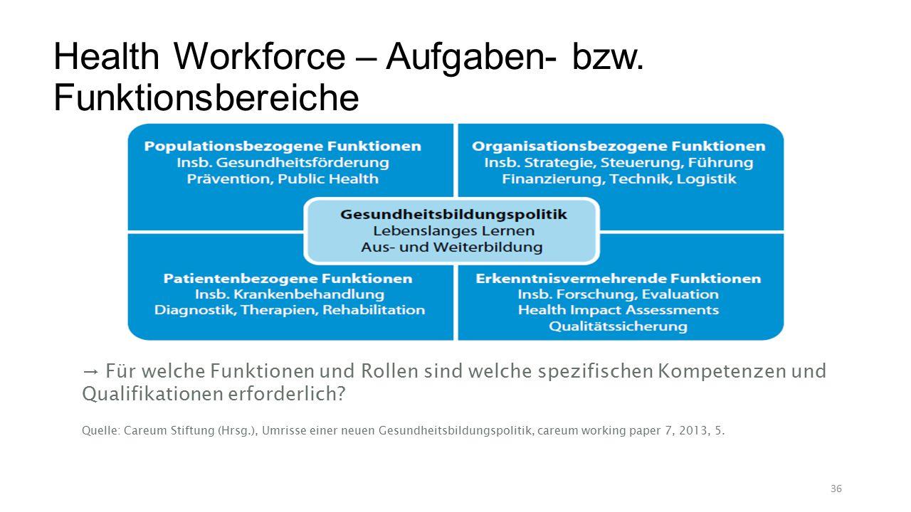 Health Workforce – Aufgaben- bzw.