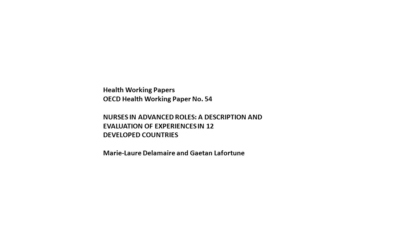Health Working Papers OECD Health Working Paper No.